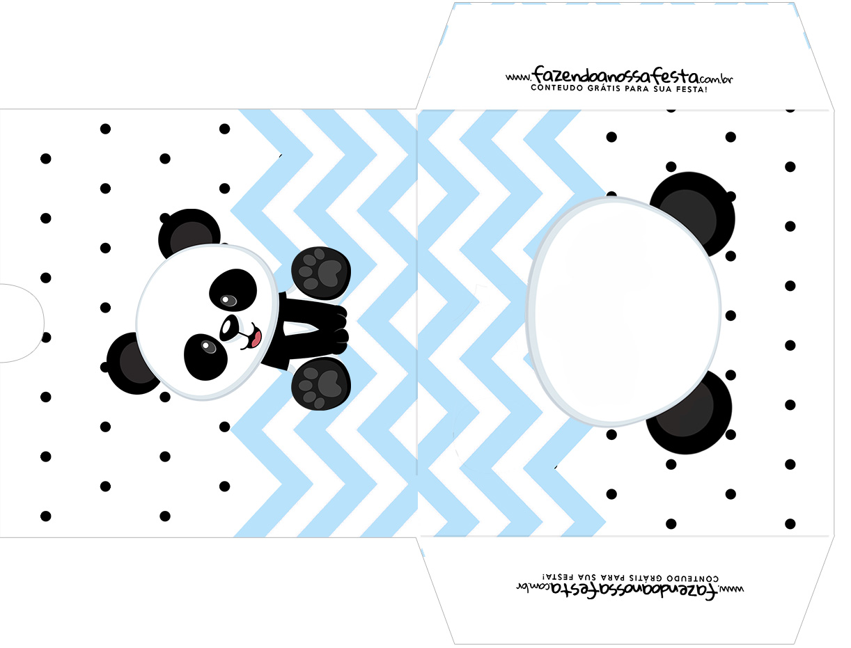 Envelope CD DVD Panda Azul