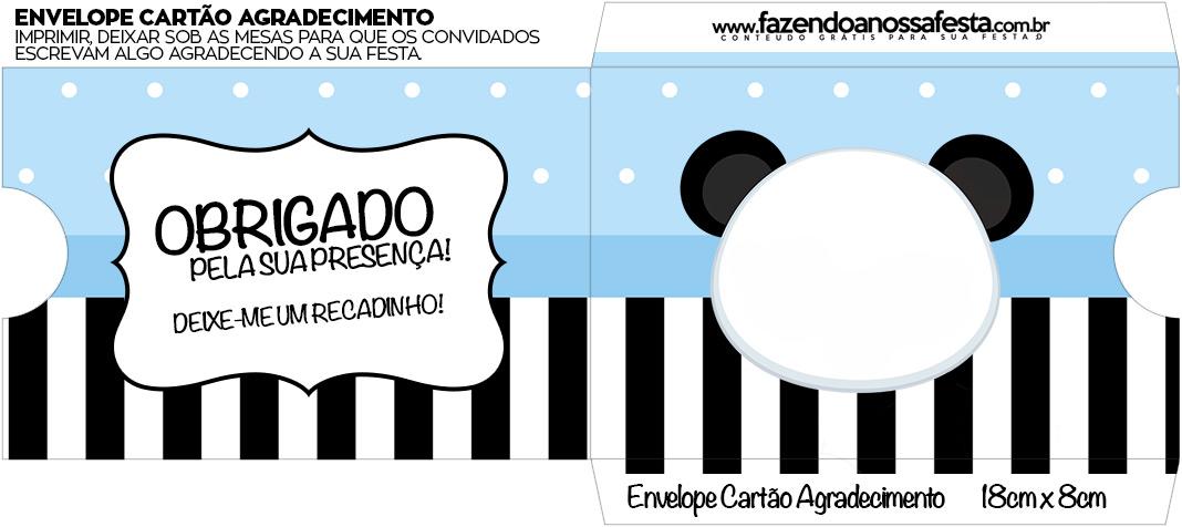 Envelope do Cartao Agradecimento Panda Azul Menino