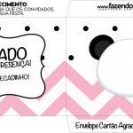 Envelope do Cartao Agradecimento Panda Rosa Menina