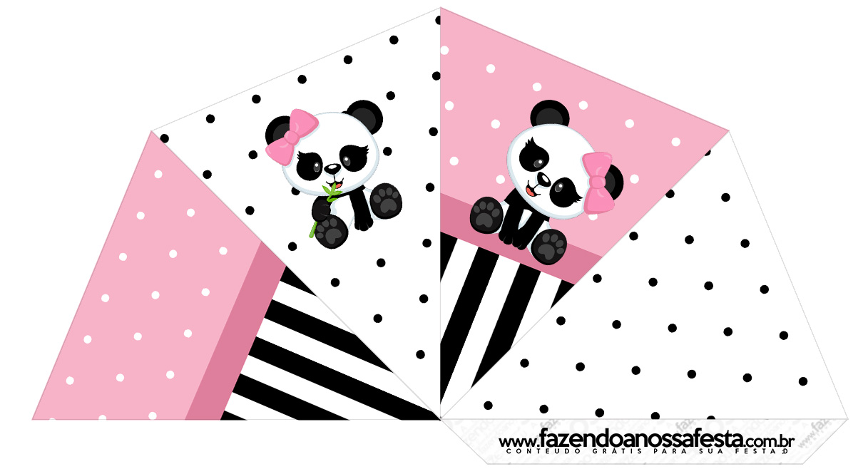Cone Guloseimas 4 lados Panda Rosa