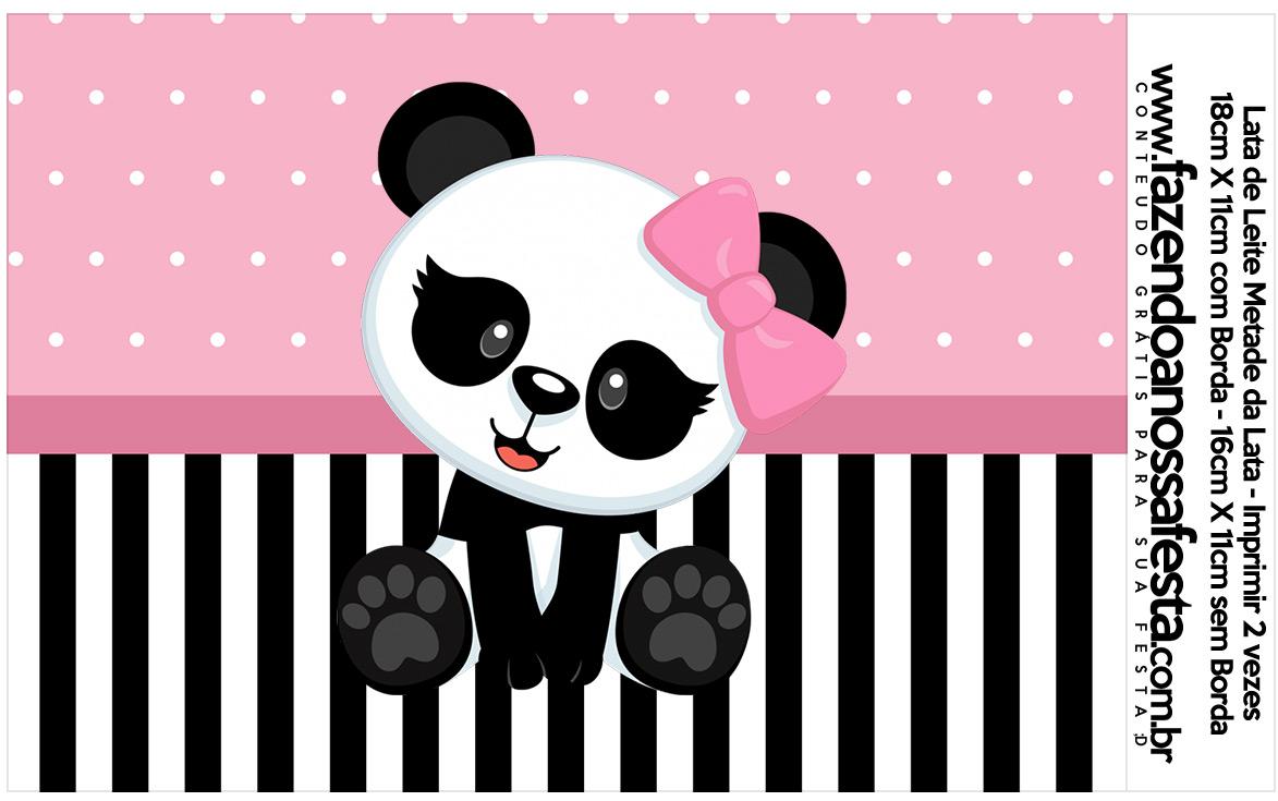 Lata de leite Panda Rosa