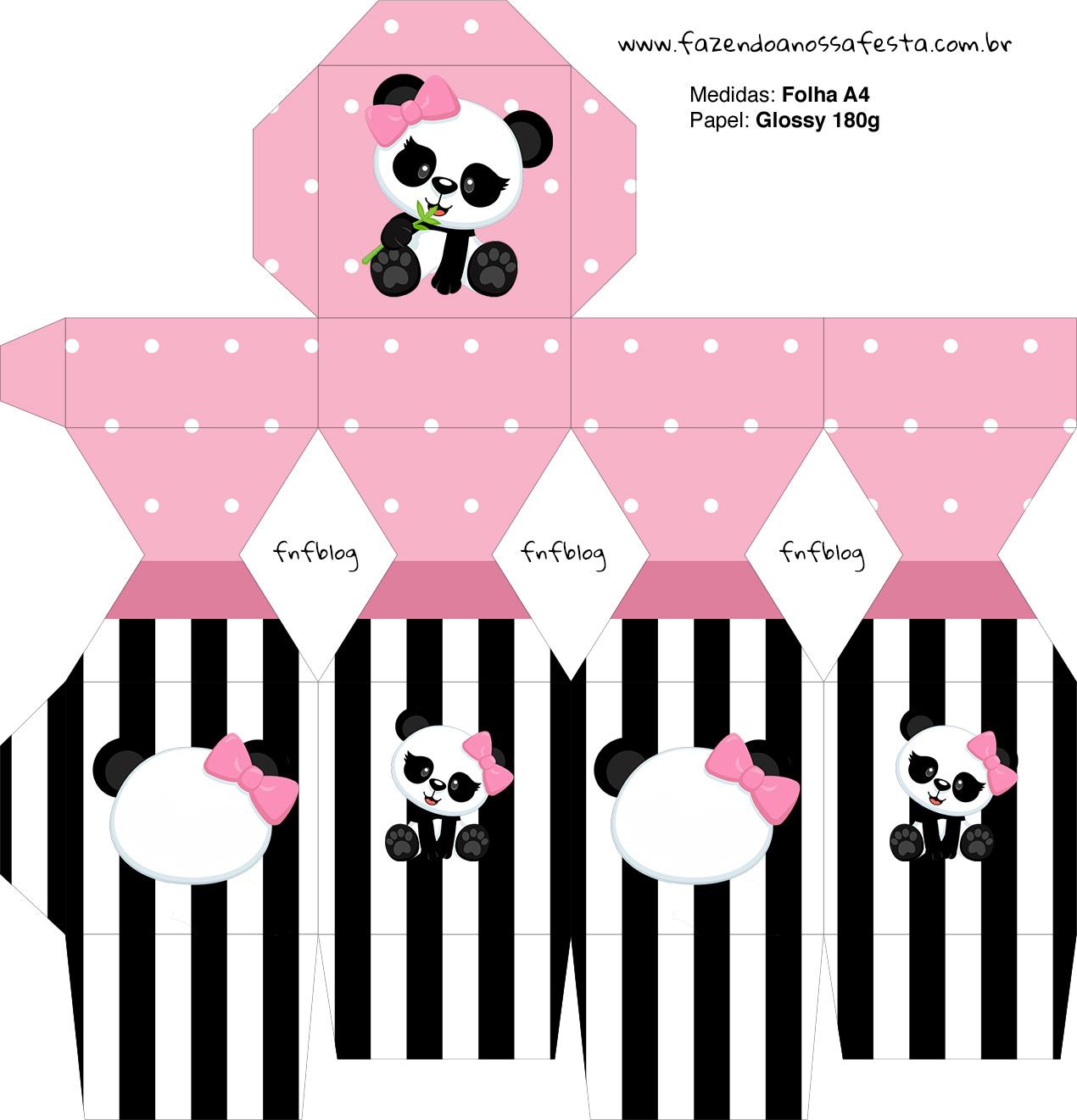 Meia Caixa Bala Panda Rosa