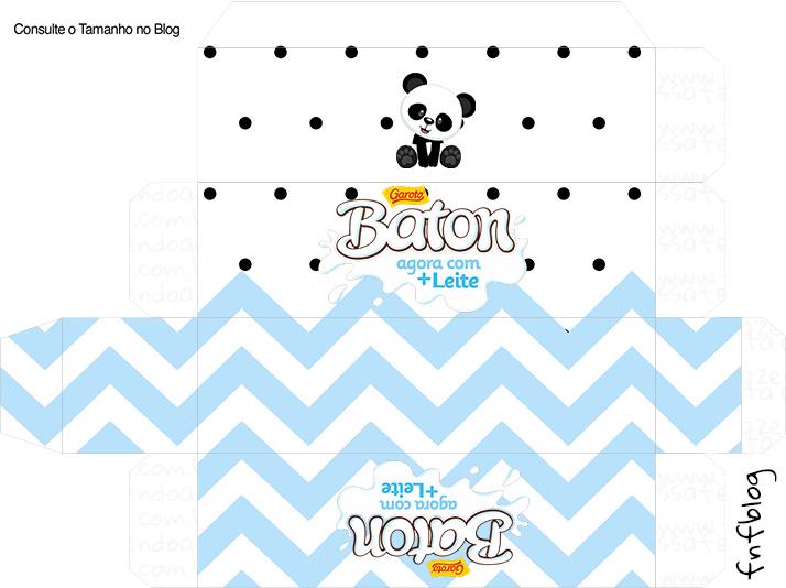 Molde Caixa Baton Panda Azul