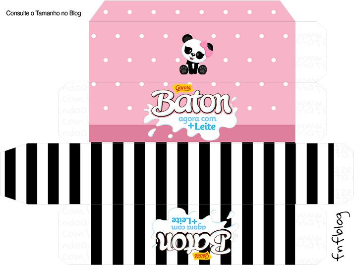 Molde Caixa Baton Panda Rosa