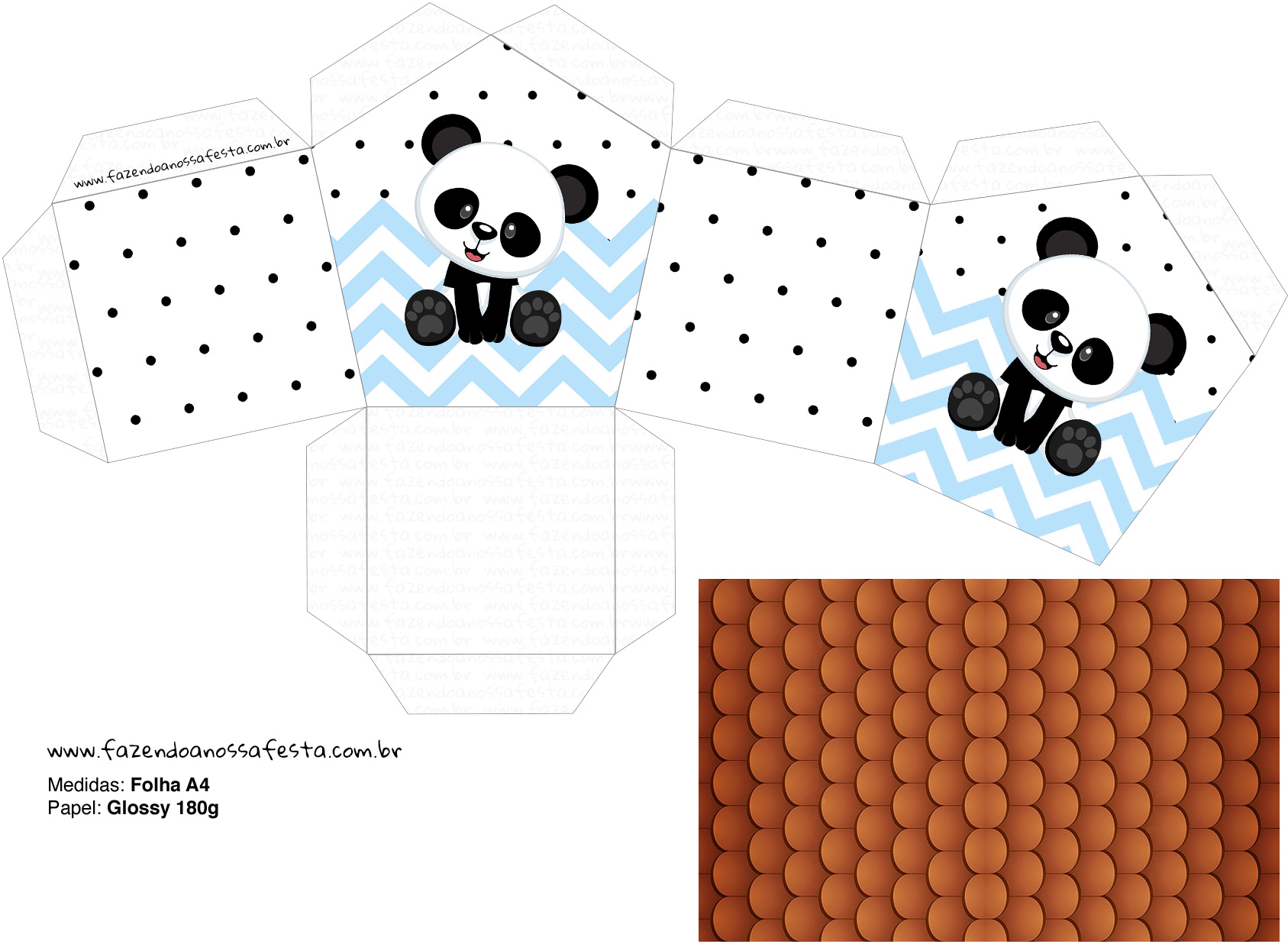 Molde Casinha Panda Azul