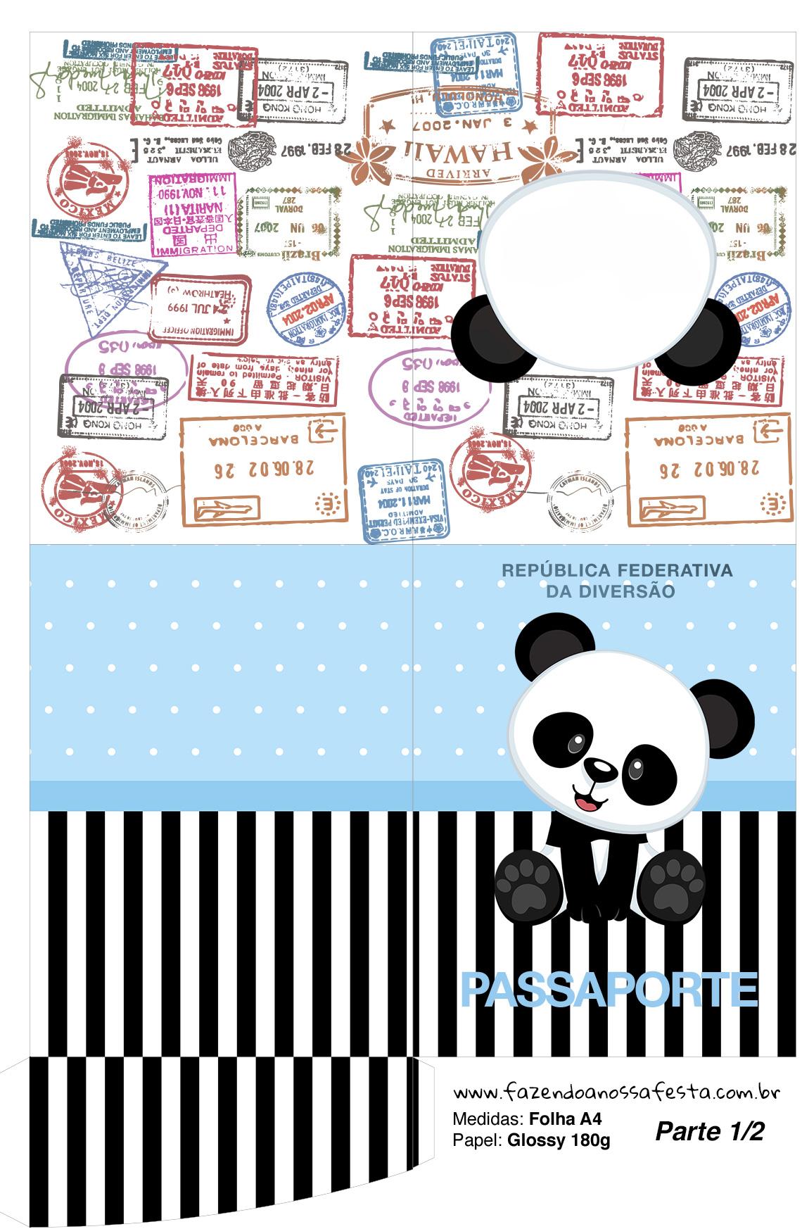Molde Passaporte Panda Azul Menino