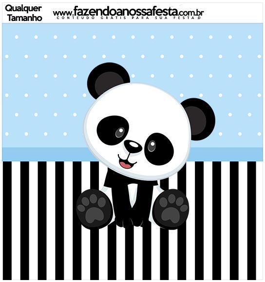 Molde Quadrado Panda Azul Menino
