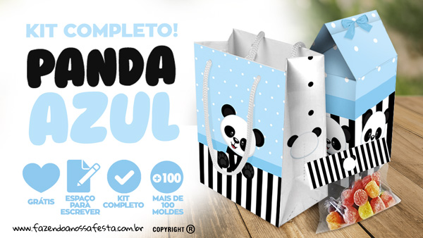Panda Azul Kit Festa