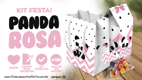 Panda Rosa Personalizados para Festa