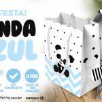 Panda Azul Personalizados para Festa Infantil Totalmente Grátis