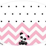 Placa Elipse Panda Rosa Menina