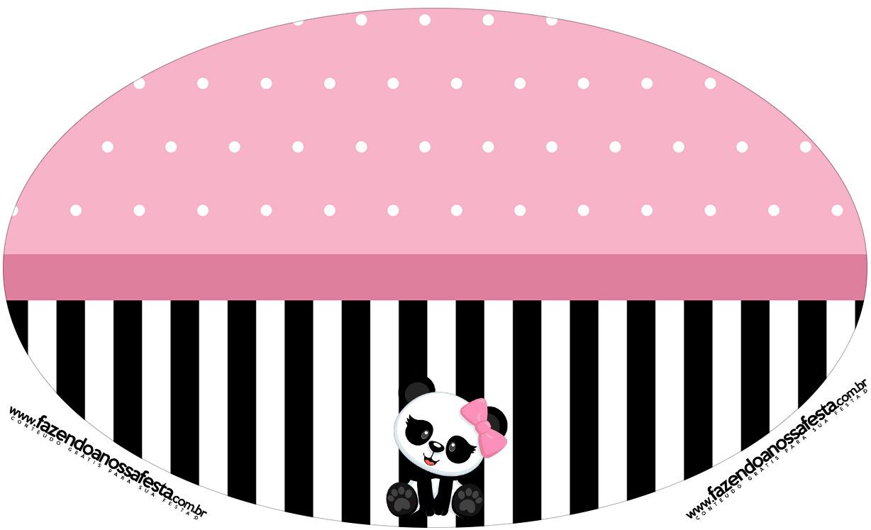 Placa Elipse Panda Rosa