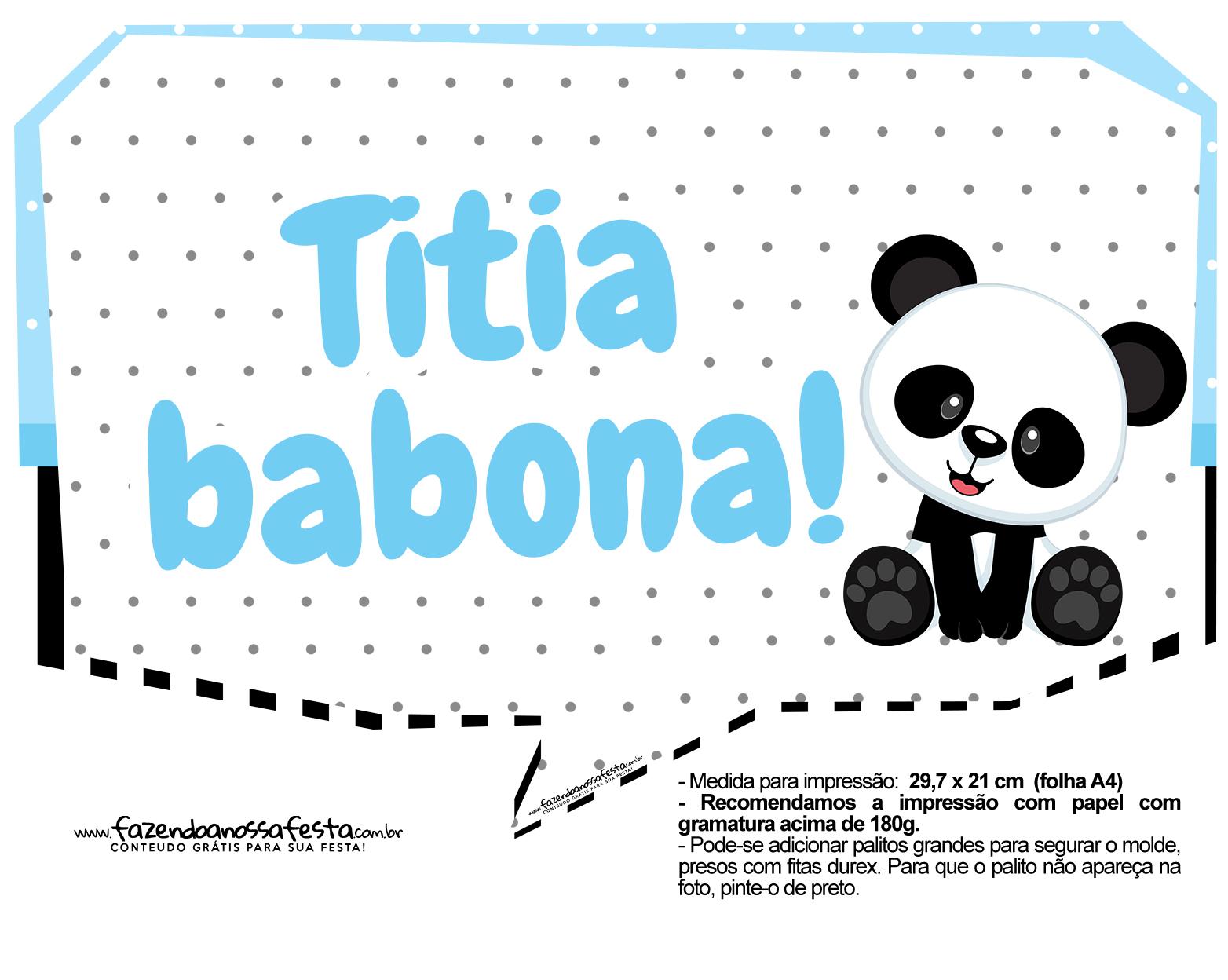 Plaquinhas para festa Panda Azul 13