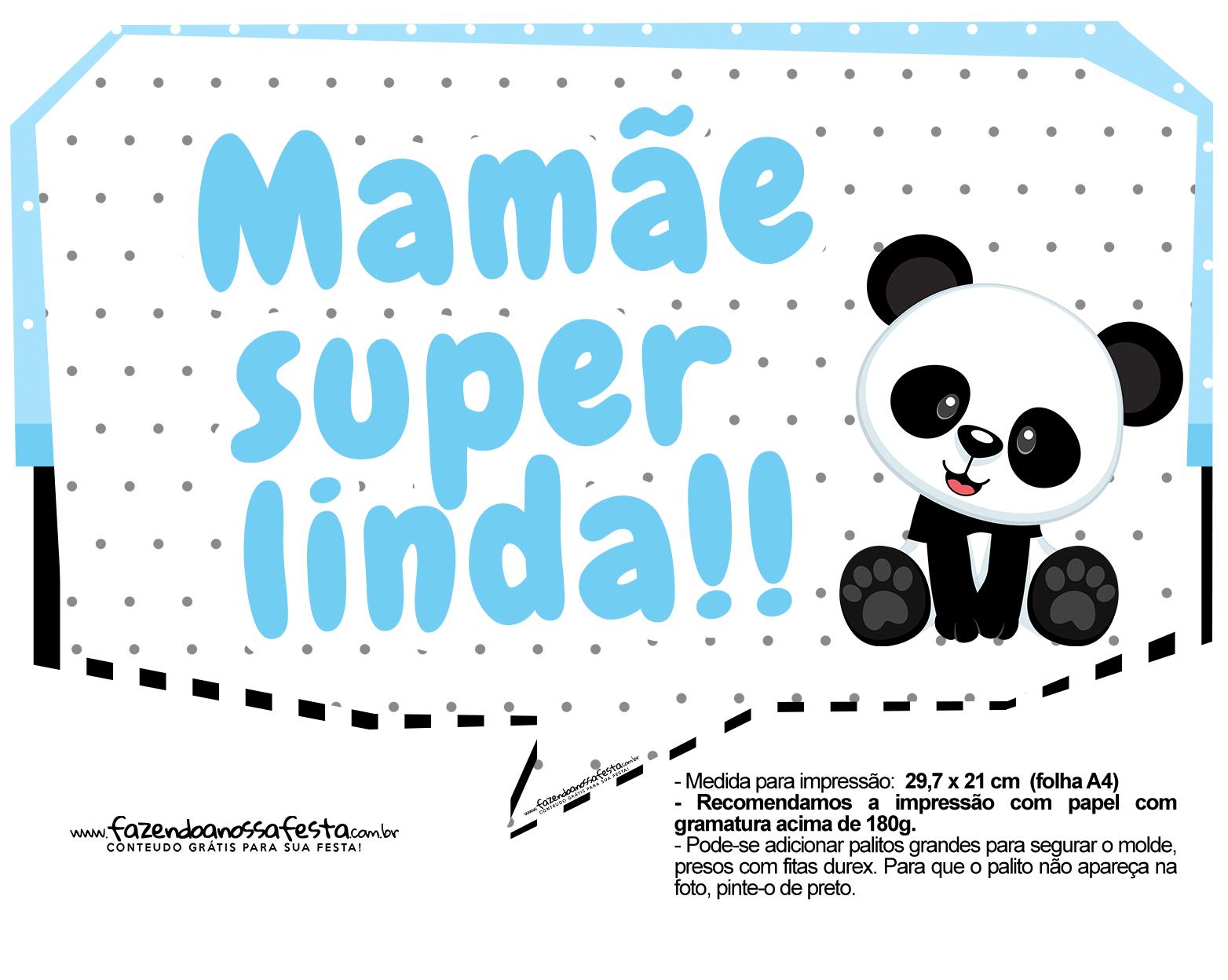Plaquinhas para festa Panda Azul 15