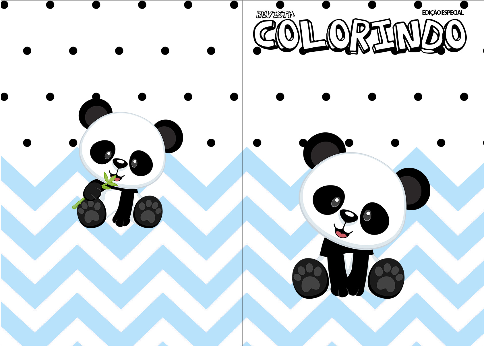 Revista Colorindo Panda Azul