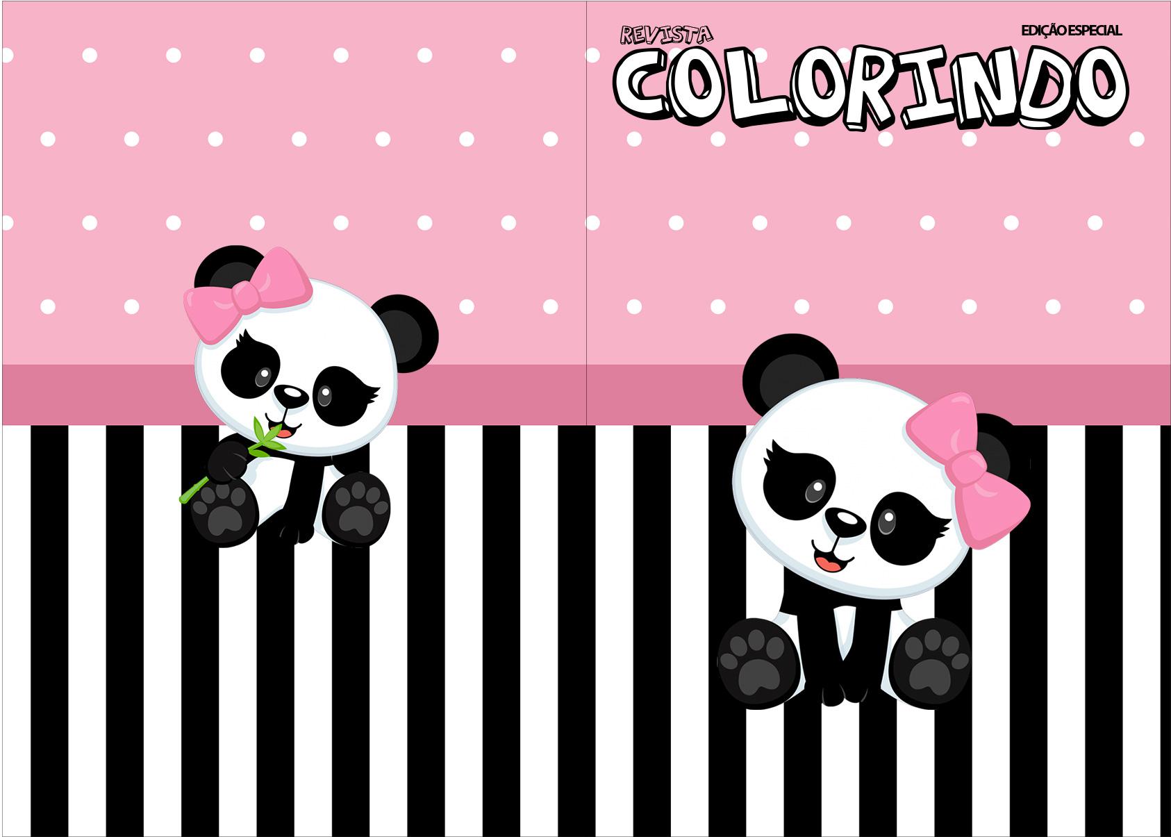 Revista Colorindo Panda Rosa
