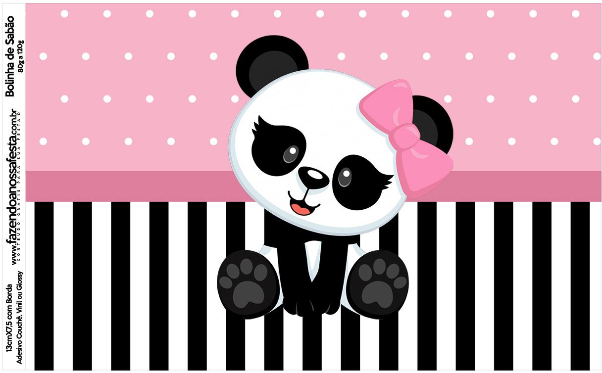 Rotulo Bolinha de Sabao Panda Rosa