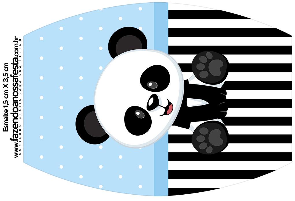 Rotulo Esmalte Panda Azul Menino