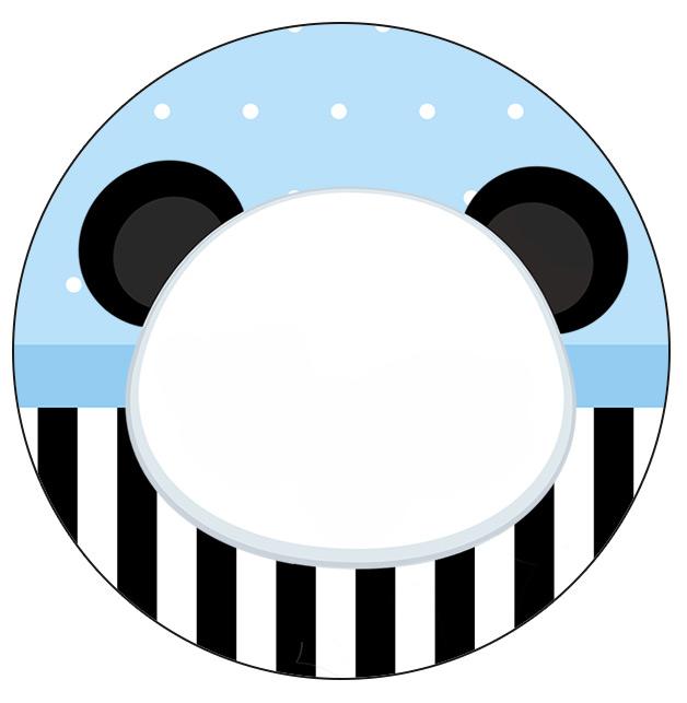 Rotulo Personalizado para latinha e toppers Panda Azul Menino