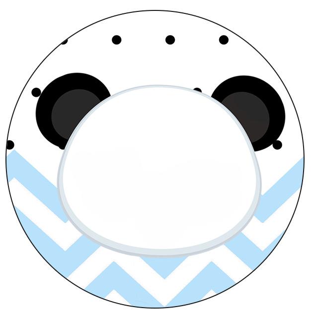 Rotulo Personalizado para latinha e toppers Panda Azul