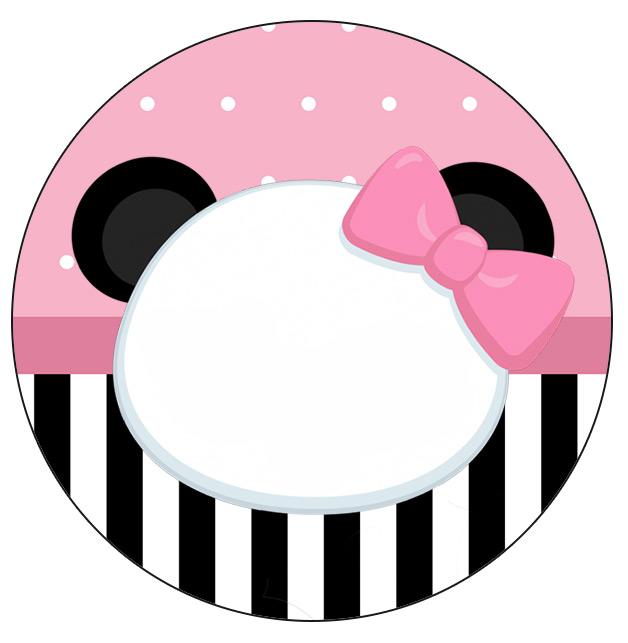 Rotulo Personalizado para latinha e toppers Panda Rosa