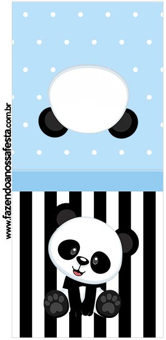 Rotulo Pirulito Panda Azul Menino
