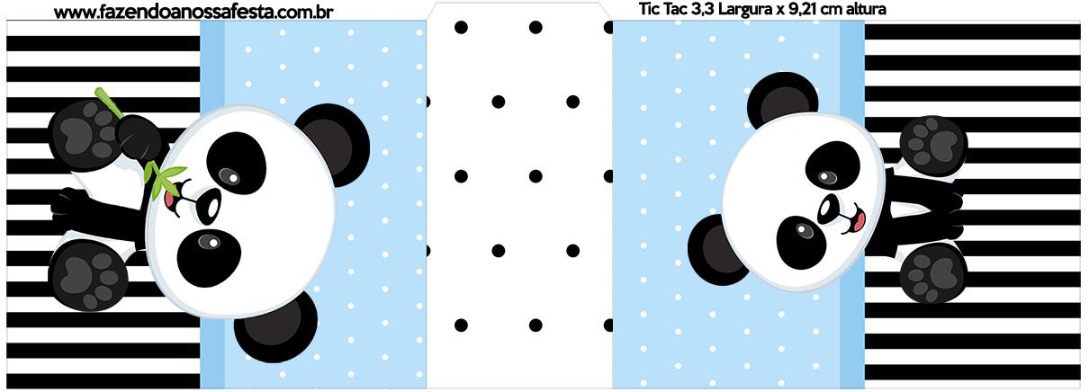 Rotulo Tic Tac Panda Azul Menino