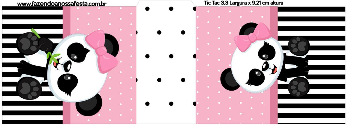 Rotulo Tic Tac Panda Rosa Kit Festa