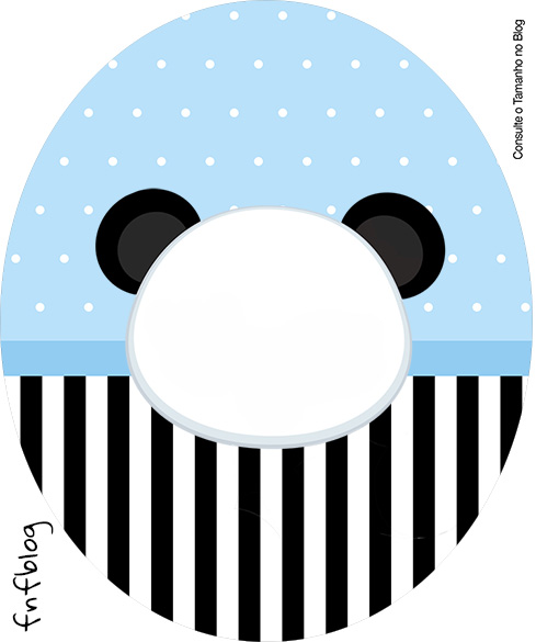 Rotulo Tubete Oval Panda Azul Menino
