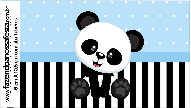 Rotulo Tubetes Panda Azul Menino