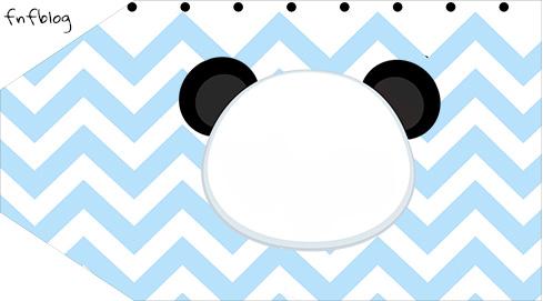 Tag Agradecimento Etiqueta Panda Azul Personalizados para festa