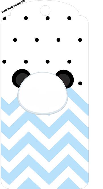 Tag Agradecimento Panda Azul