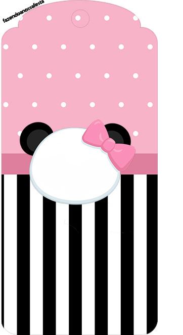 Tag Agradecimento Panda Rosa Kit Festa