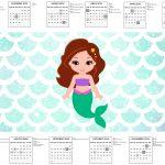 Calendario 2017 Sereia Cute Kit Festa