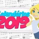Calendário 2019 com Fundo Transparente para Imprimir