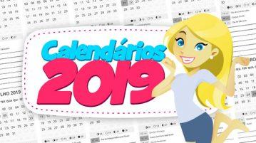 Calendarios 2019 sem fundo para personalizar