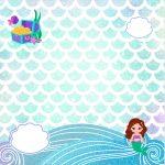Convite Caixa Fundo Sereia Cute Kit Festa