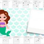 Convite Calendario 2017 Sereia Cute Kit Festa