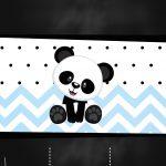 Convite Chalkboard Panda Menino Azul
