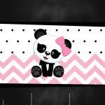 Convite Chalkboard Panda Rosa Menina