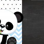 Convite Chalkboard Tema Panda Menino Azul