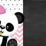 Convite Chalkboard Tema Panda Rosa Menina