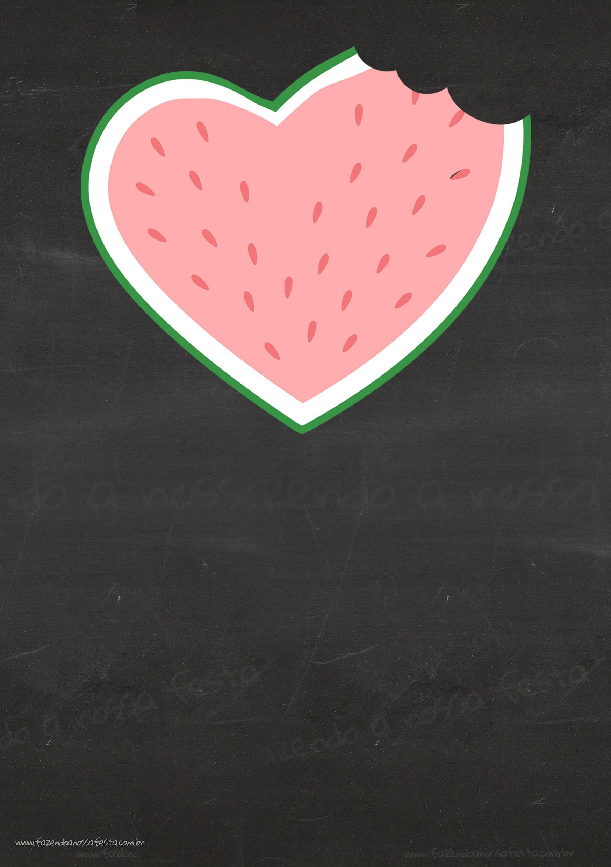 Convite Chalkboard com Foto Melancia Limpo
