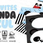 Convite Panda Azul Grátis para Baixar e Imprimir em Casa