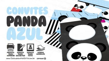 Convite Panda Azul
