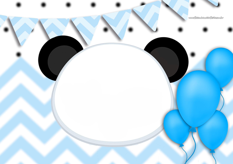 Convite Panda Menino Azul 2
