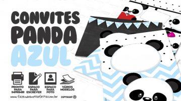 Convite Panda Menino Azul Gratis
