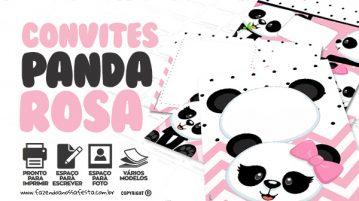 Convite Panda Rosa Menina Gratis para Imprimir