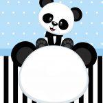 Convite Personalizado Panda Azul