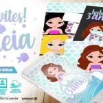 Convite Sereia Cute para Imprimir em Casa vários modelos para escolher